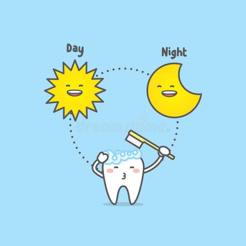 Jour et nuit de brossage de temps avec le caractère de dent, le soleil, lune, illus illustration stock