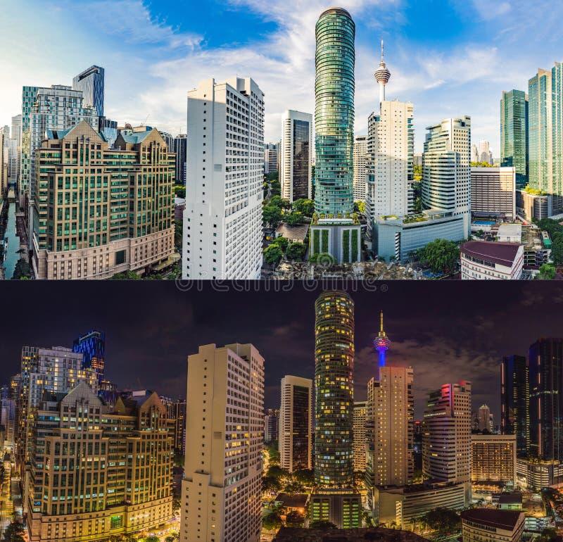 Jour et nuit Horizon de Kuala Lumpur, vue de la ville, gratte-ciel avec un beau ciel Paysage urbain de Kuala Lumpur photo stock