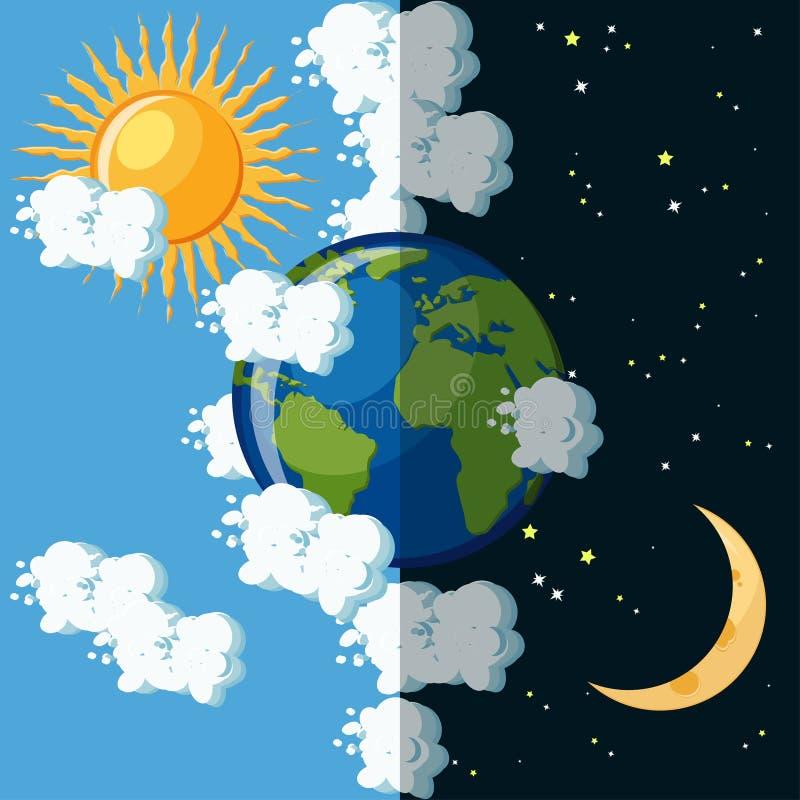 Jour et nuit sur le concept de la terre de planète illustration stock