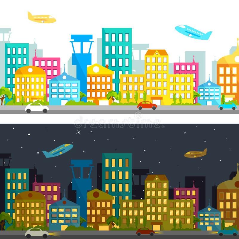Jour et nuit vue illustration stock