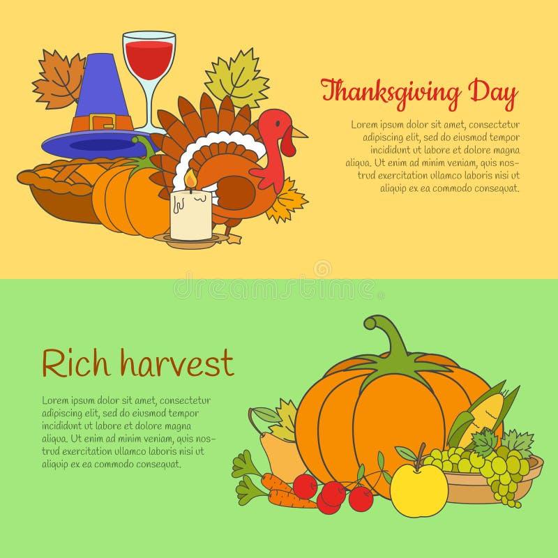 Jour et Rich Harvest Banners Set de thanksgiving illustration stock