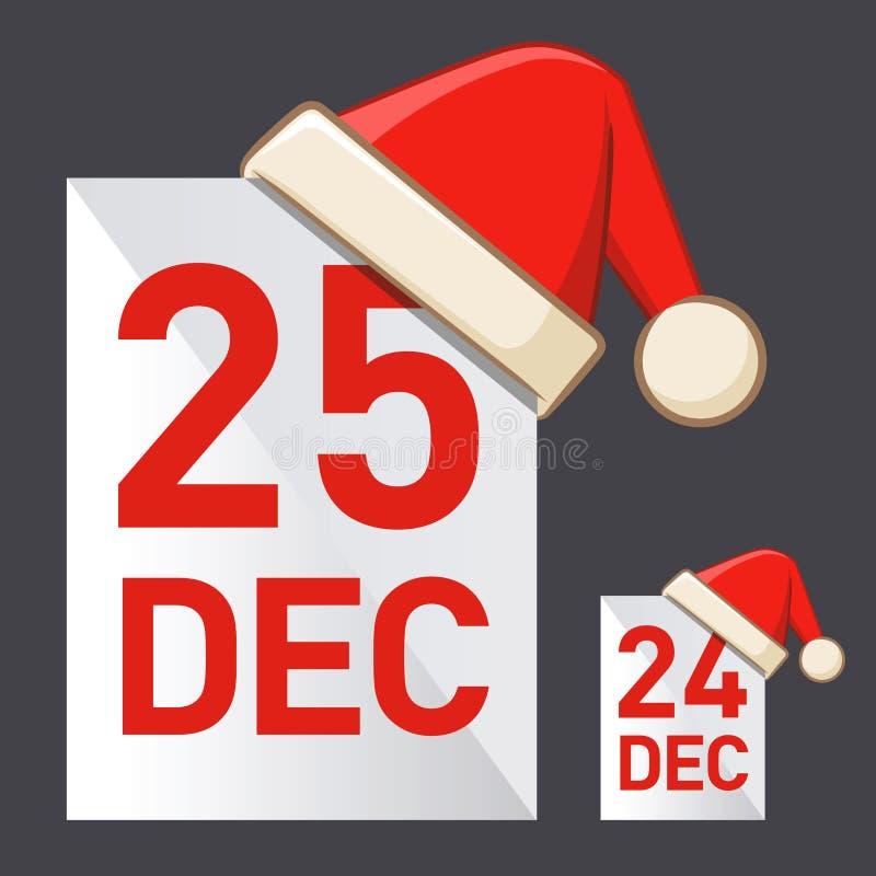 Jour et veille de Noël illustration stock