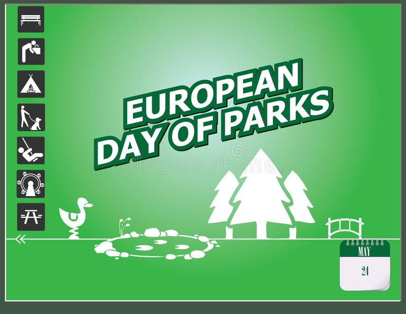 Jour européen de carte postale des parcs illustration libre de droits