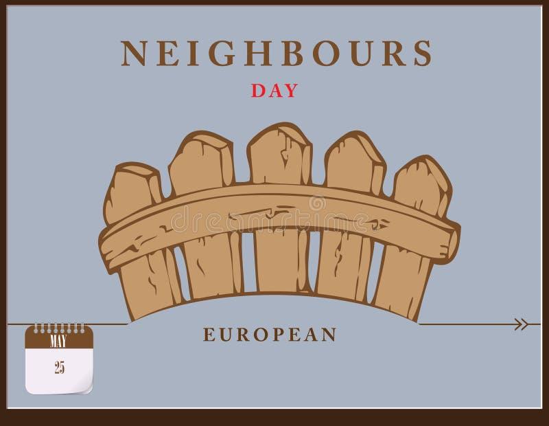 Jour européen de voisins de carte postale illustration de vecteur