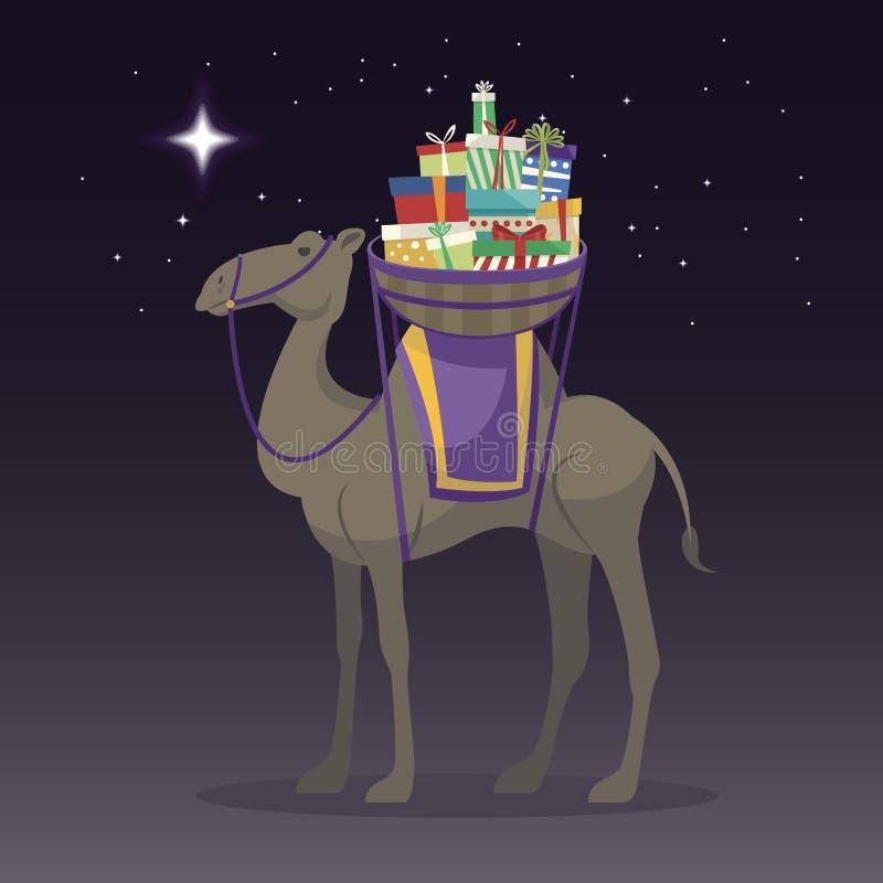 Jour heureux d'épiphanie Chameau transportant des cadeaux le jour de trois rois illustration stock