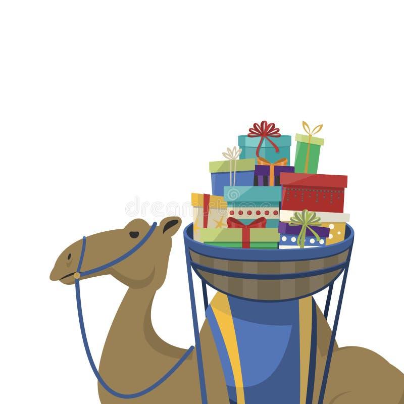 Jour heureux d'épiphanie Chameau transportant des cadeaux sur un fond blanc illustration libre de droits