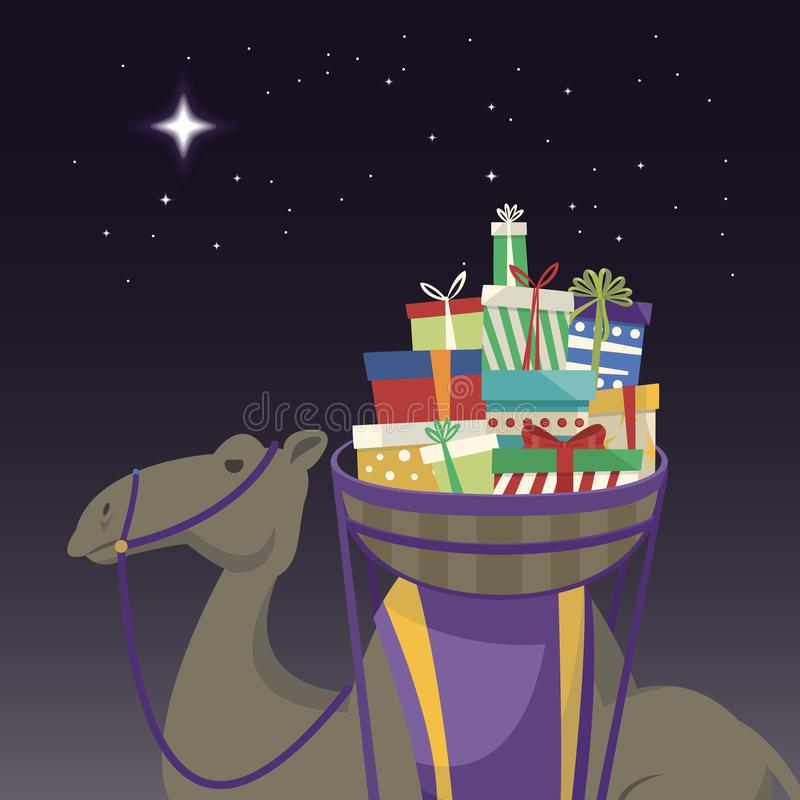 Jour heureux d'épiphanie Chameau transportant les cadeaux et l'étoile illustration libre de droits