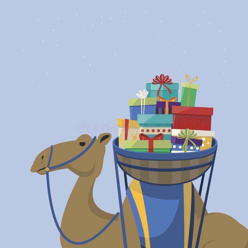 Jour heureux d'épiphanie Chameau transportant les cadeaux et le texte anglais illustration de vecteur