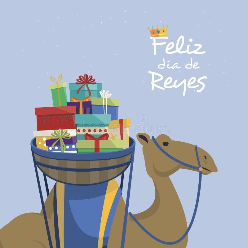 Jour heureux d'épiphanie Chameau transportant les cadeaux et le texte espagnol illustration stock