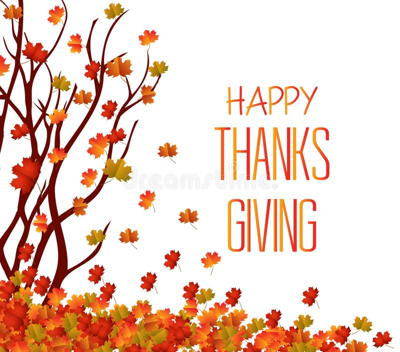 Jour heureux d'action de grâces Arbre d'automne et pile des feuilles La chute laisse le fond illustration stock