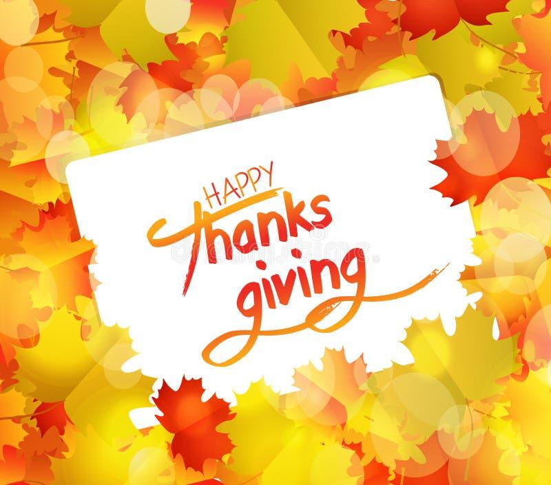 Jour heureux d'action de grâces Autumn Background avec le papier blanc illustration de vecteur