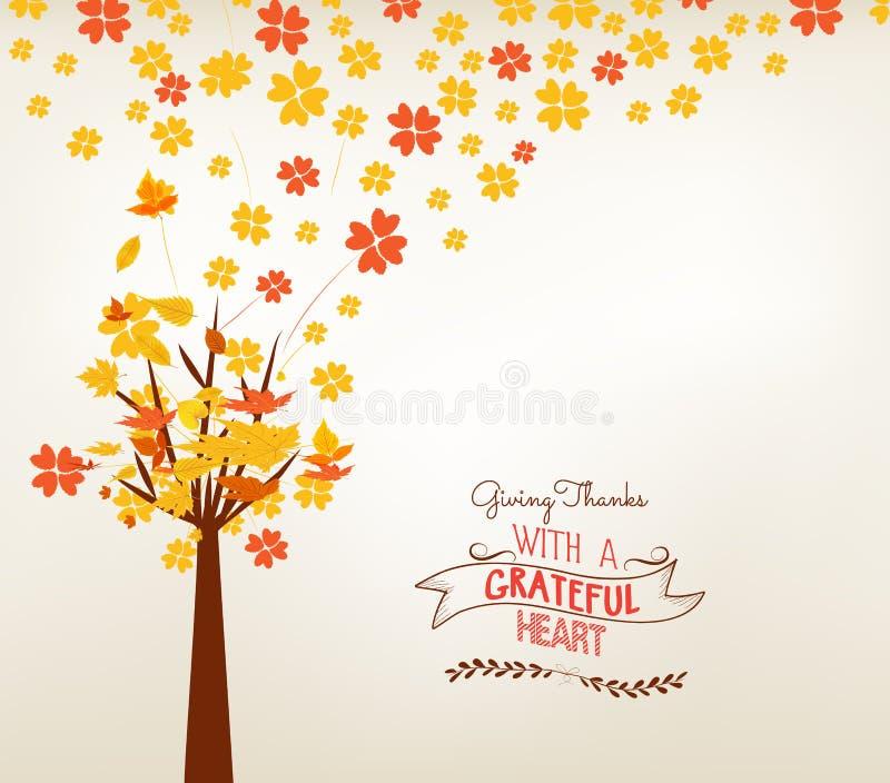 Jour heureux d'action de grâces Illustration de vecteur d'Autumn Design Fond d'arbre d'automne illustration libre de droits