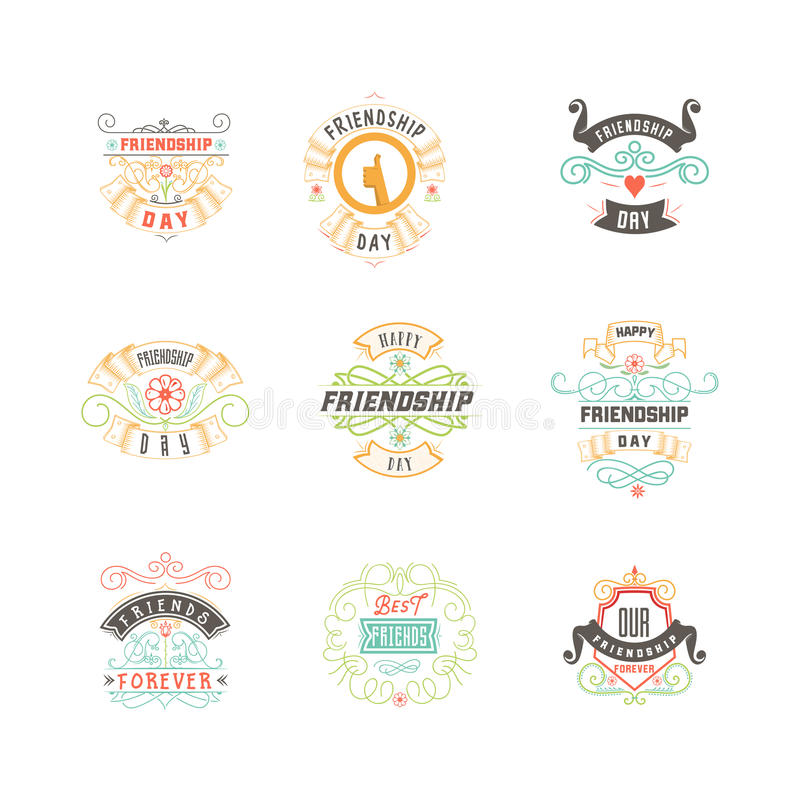 Jour heureux d'amitié Conception colorée typographique de vecteur Les insignes pour vos vacances conçoivent des cartes postales,  illustration libre de droits