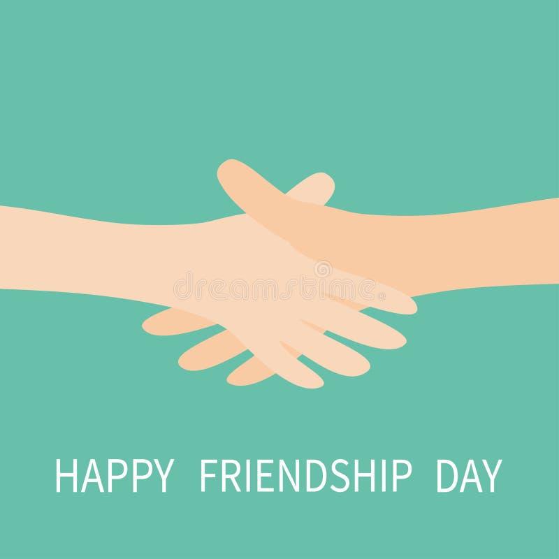 Jour heureux d'amitié Icône de poignée de main Deux bras de mains atteignant entre eux Se serrer la main Fermez-vous vers le haut illustration de vecteur