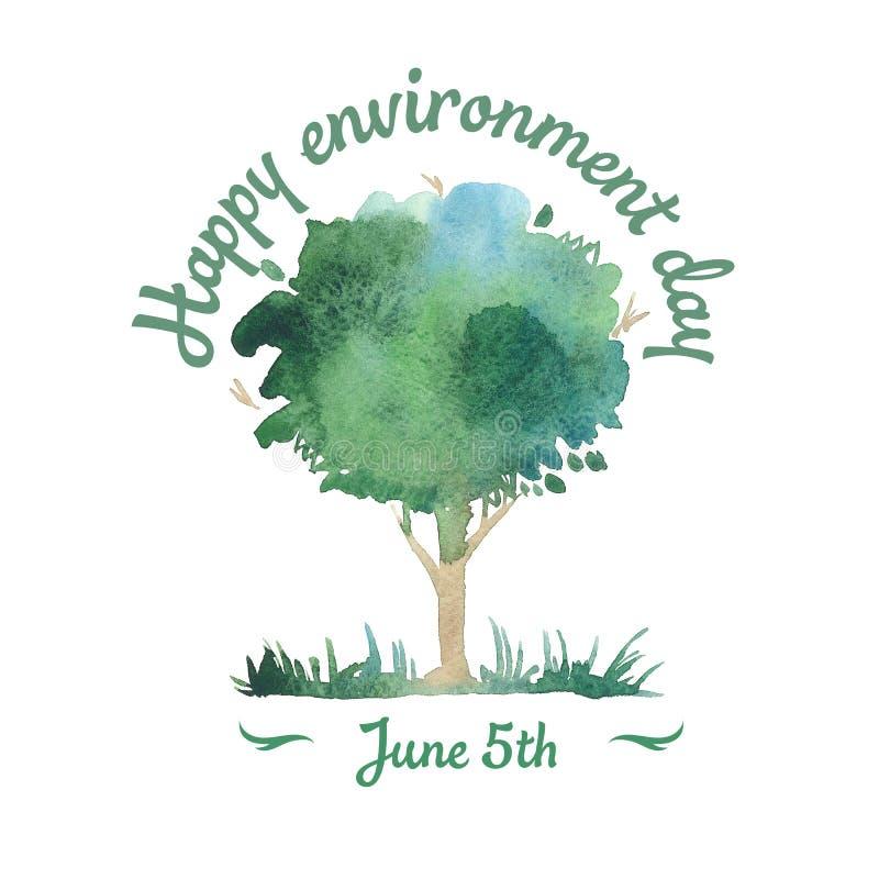 Jour heureux d'environnement 5 juin Arbre d'aquarelle illustration libre de droits