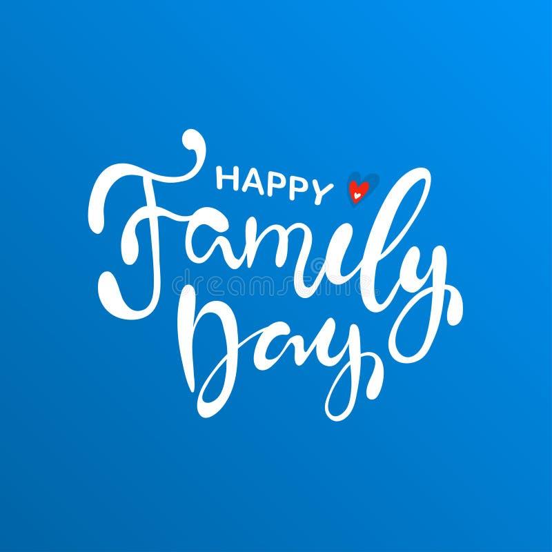 Jour heureux de famille Affiche de typographie de lettrage illustration stock