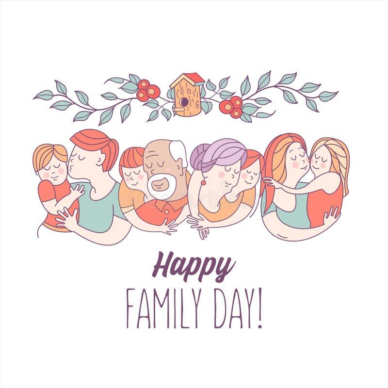 Jour heureux de famille Illustration de vecteur illustration de vecteur