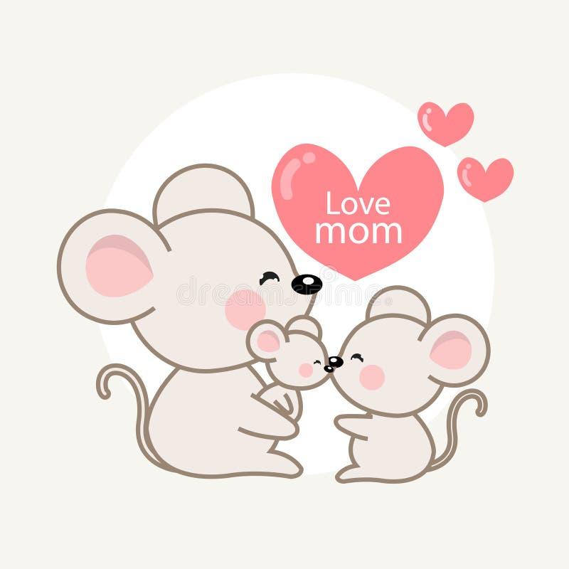 Jour heureux de family's Carte de voeux avec la maman de papa et la souris mignonnes de bébé Illustration de vecteur dans le st illustration stock