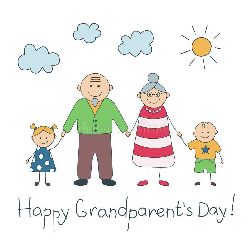 Jour heureux de grandparent's Carte colorée avec le texte Père et grand-mère Grand-papa et grand-maman heureux Vecteur illustration libre de droits
