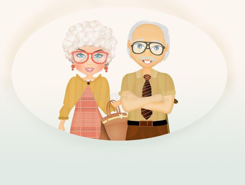 Jour heureux de grands-parents illustration de vecteur