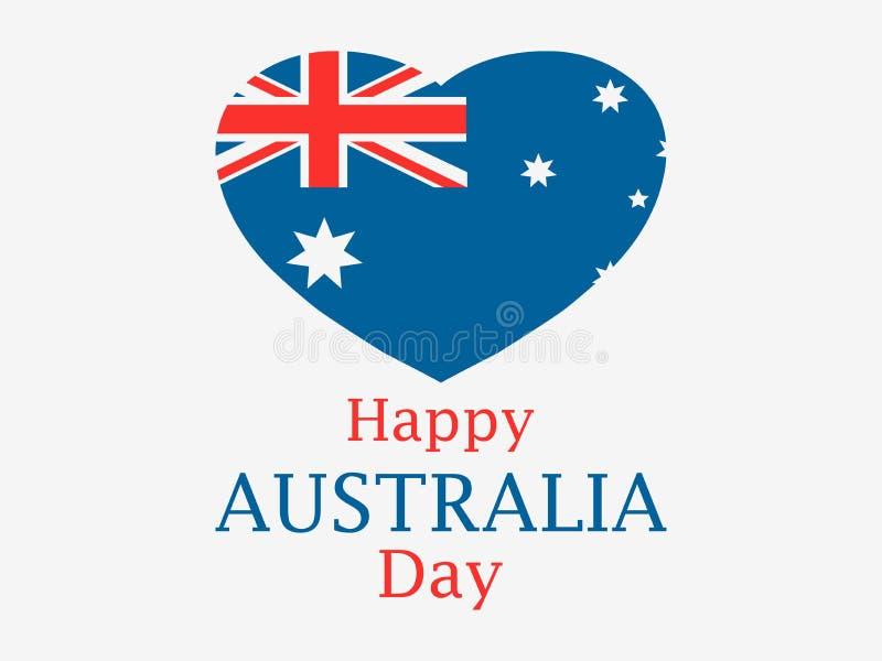 Jour heureux de l'Australie, le 26 janvier Coeur avec le drapeau de l'Australie Vecteur illustration stock