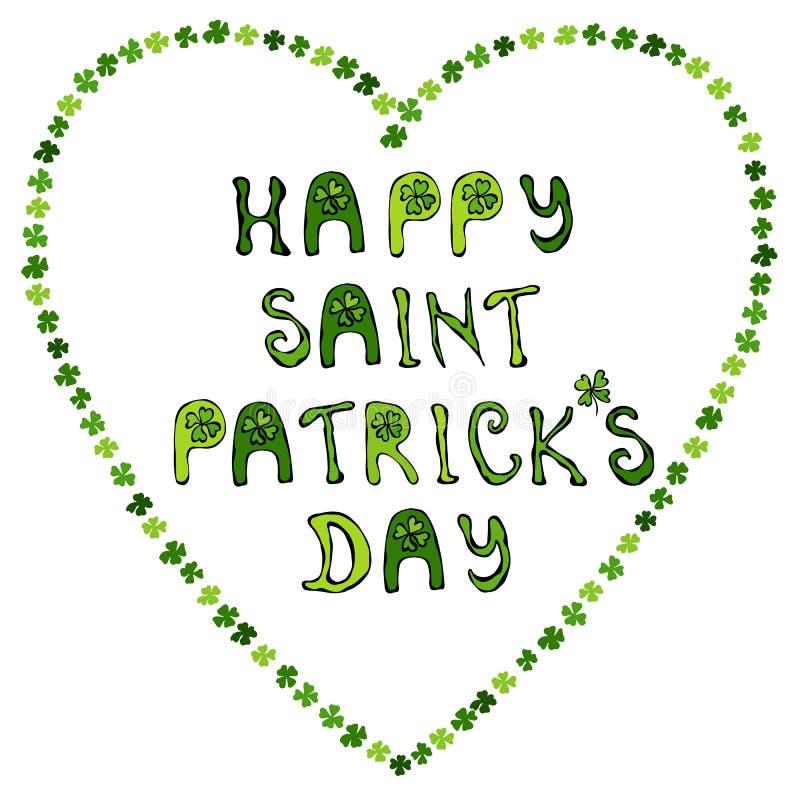 Jour heureux de Patrick de saint s Typographie tirée par la main de lettrage de jour de St Patrick s pour la carte postale, carte illustration stock