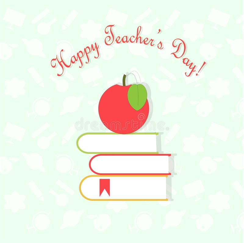 Jour heureux de professeurs de bannière de typographie, pomme rouge sur des livres sur le fond bleu-clair et blanc blanc de modèl illustration stock