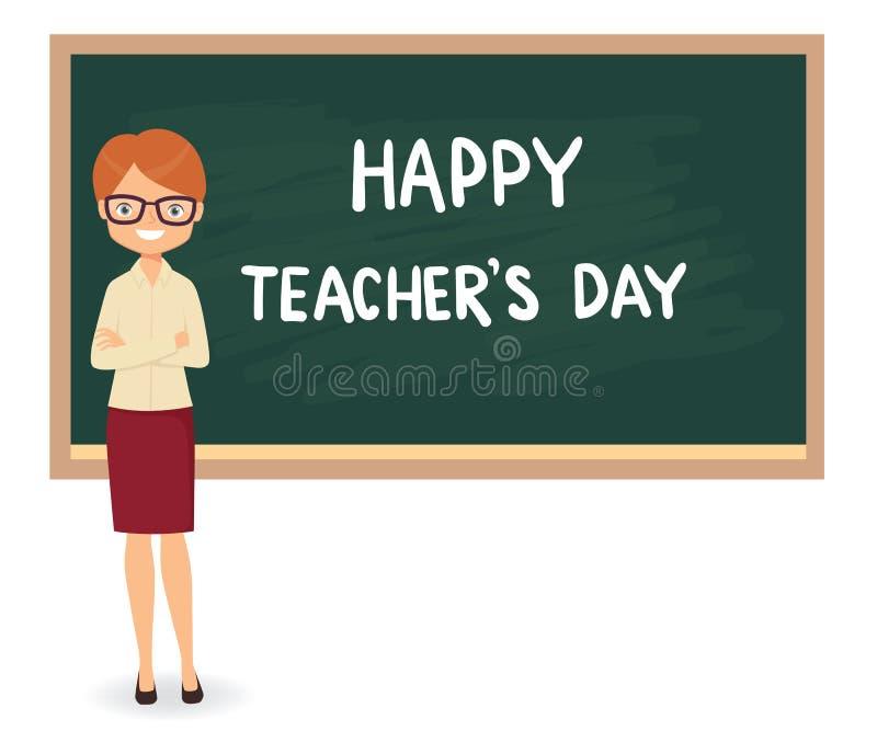 Jour heureux de professeurs Jeune professeur féminin contre un Ba de tableau noir illustration de vecteur