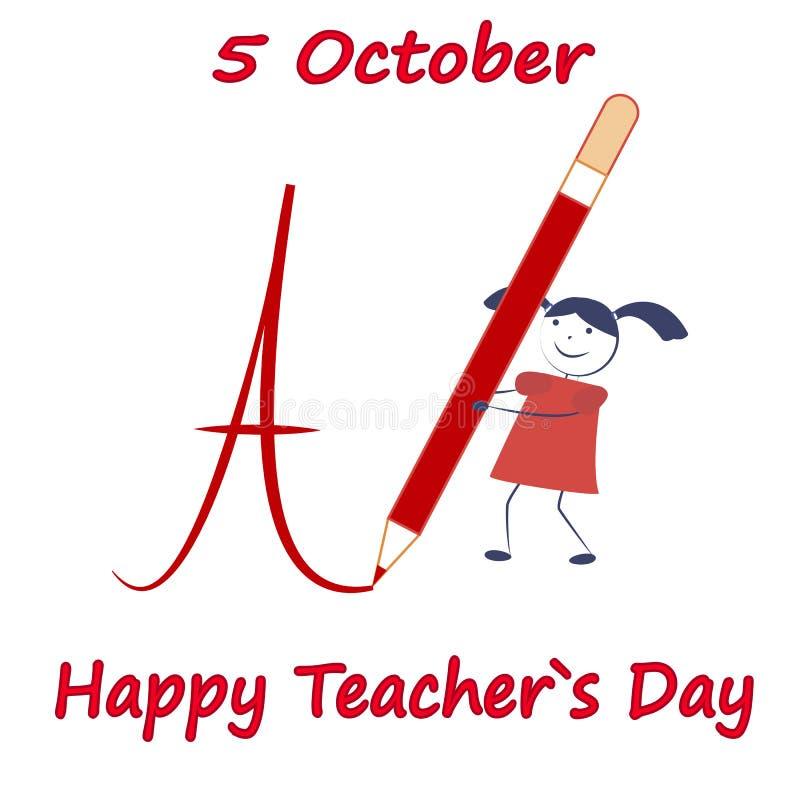 Jour heureux de professeurs Une fille de bande dessinée écrit un grand crayon 5 octobre photo stock