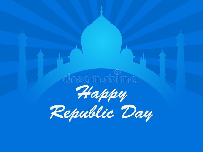 Jour heureux de République d'Inde Taj Mahal et raies sur le fond bleu Vecteur illustration de vecteur