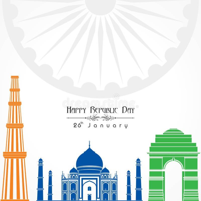 Jour heureux de République de vecteur d'illustration de l'Inde, conception d'affiche illustration de vecteur
