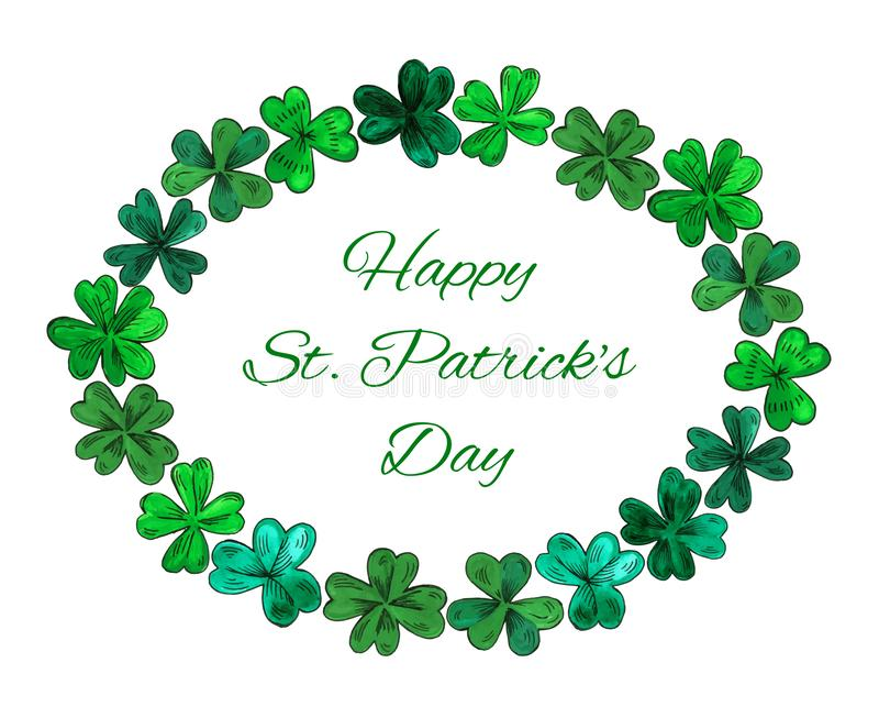 Jour heureux de StPatricks de carte Cadre ovale de guirlande fait à partir des feuilles tirées par la main de trèfle illustration de vecteur