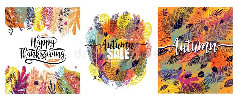 Jour heureux de thanksgiving réglé avec le fond à la mode multicolore d'automne Grand élément de conception, illustration de vect illustration libre de droits