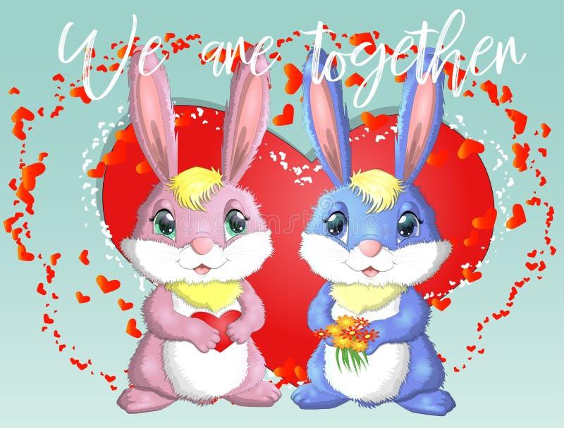 Jour heureux de Valentine \ 'de s Carte d'amour Une paire de fille et de garçon de lapins mignons, rose et profond contre un coeu illustration libre de droits