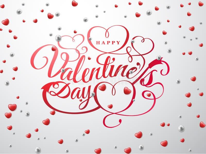 Jour heureux de Valentine s Composition en police avec les coeurs rouges et les perles argentées d'isolement sur le fond Vacances illustration de vecteur