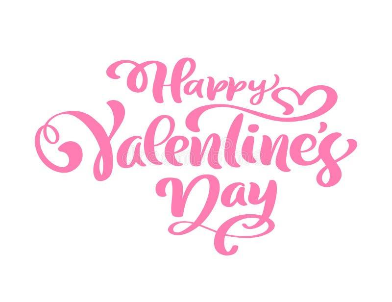 Jour heureux de Valentine s d'expression de calligraphie Lettrage tiré par la main de jour de valentines de vecteur Croquis d'iso illustration libre de droits