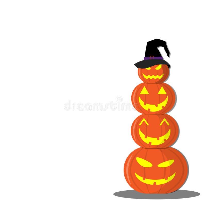 Jour heureux de Veille de la toussaint Effrayant fantasmagorique de sourire mignon de potiron sur le fond blanc illustration stock