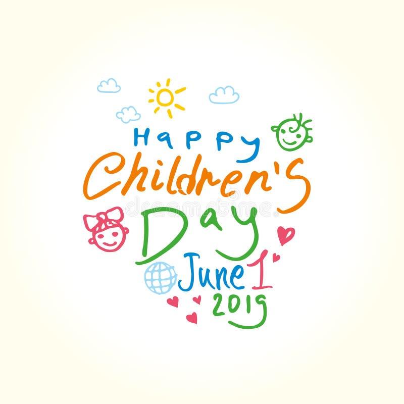 Jour heureux du ` s d'enfants Illustration de vacances de griffonnage au jour des enfants internationaux illustration stock