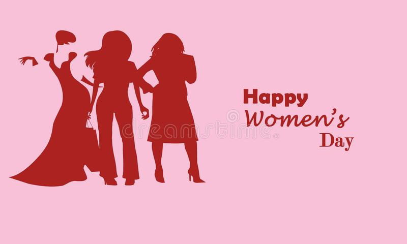 Jour heureux du ` s de femmes elle peut faire tout illustration libre de droits