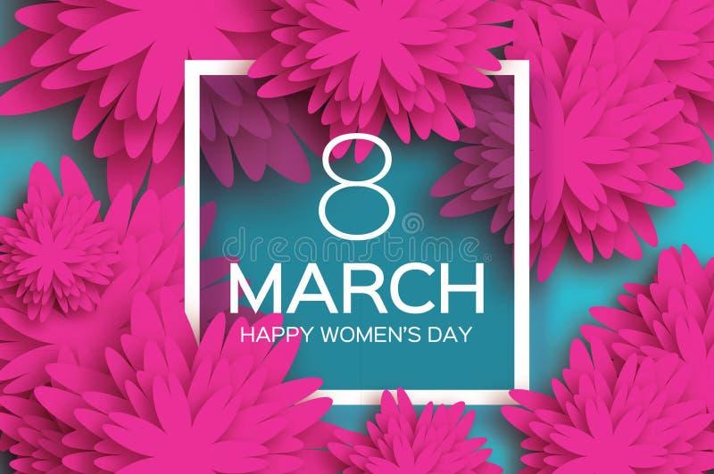 Jour heureux du ` s de femmes Le bouganvilla de papier de Flower 8 mars Trame carrée illustration stock