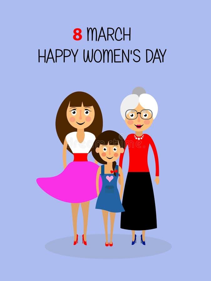 Jour heureux du ` s de femmes vacances Femmes âge illustration libre de droits