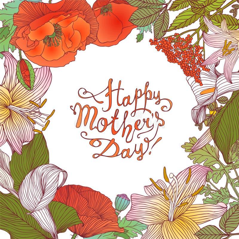 Jour heureux du ` s de mère ! Carte de félicitation avec le cadre floral illustration stock
