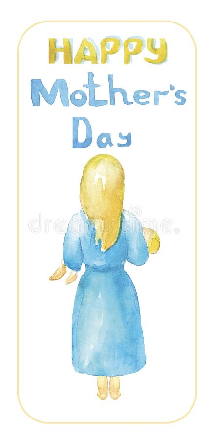 Jour heureux du `s de mère La mère avec les cheveux blonds dans une robe bleue, nu-pieds, tient, étreint son enfant, illustration stock