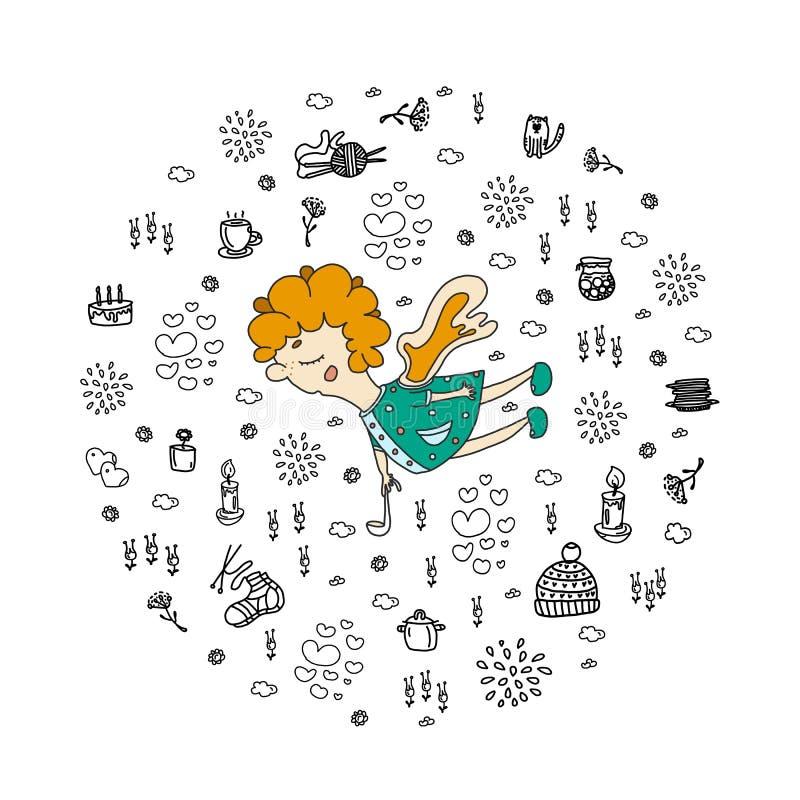 Jour heureux du `s de m?re L'ange est fait en couleurs Éléments dans le style de chapeau de tricotage de chaussettes de bougie de illustration stock