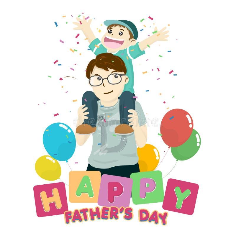 Jour heureux du ` s de père avec l'équitation de fils sur le cou image stock