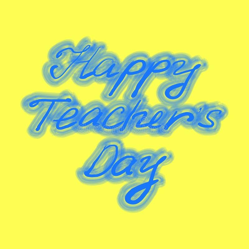 Jour heureux du ` s de professeur d'inscription bleue sur un fond jaune photos libres de droits