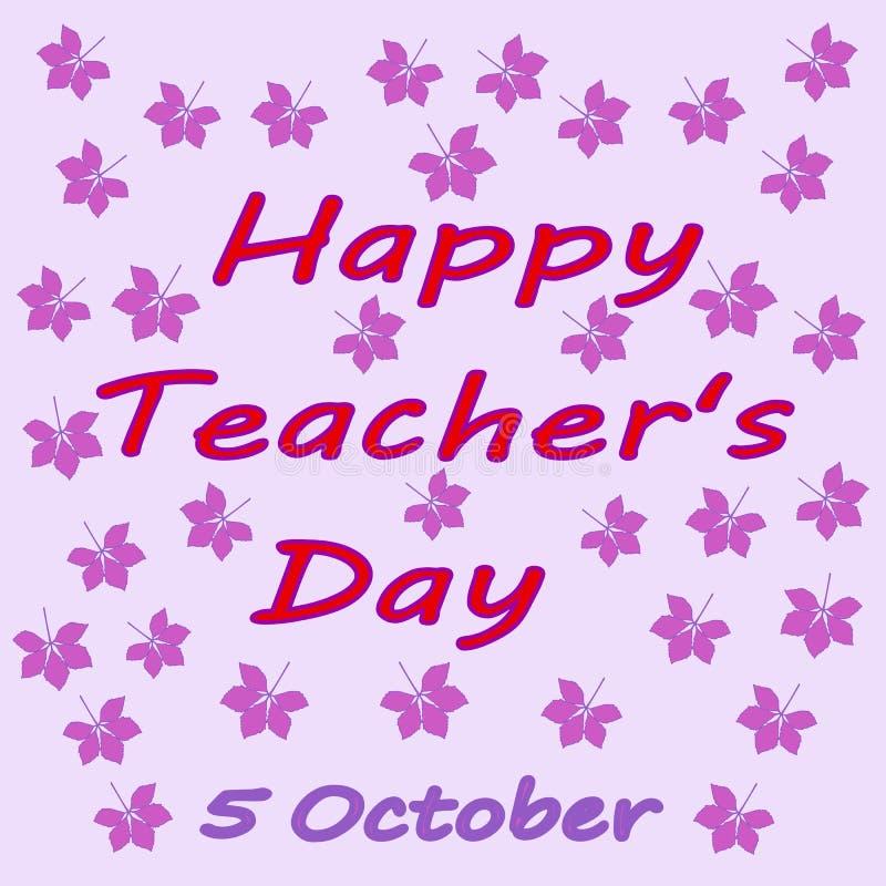 Jour heureux du ` s de professeur d'inscription Jour de ` de professeurs du monde 5 octobre image stock