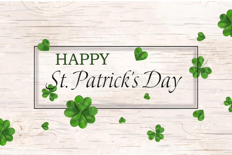 Jour heureux du ` s de St Patrick conception de jour de patricks de St avec l'oxalide petite oseille en baisse, trèfle quatre lea illustration stock
