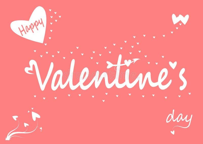 Jour heureux du ` s de valentine avec des coeurs sur le fond rose illustration de vecteur