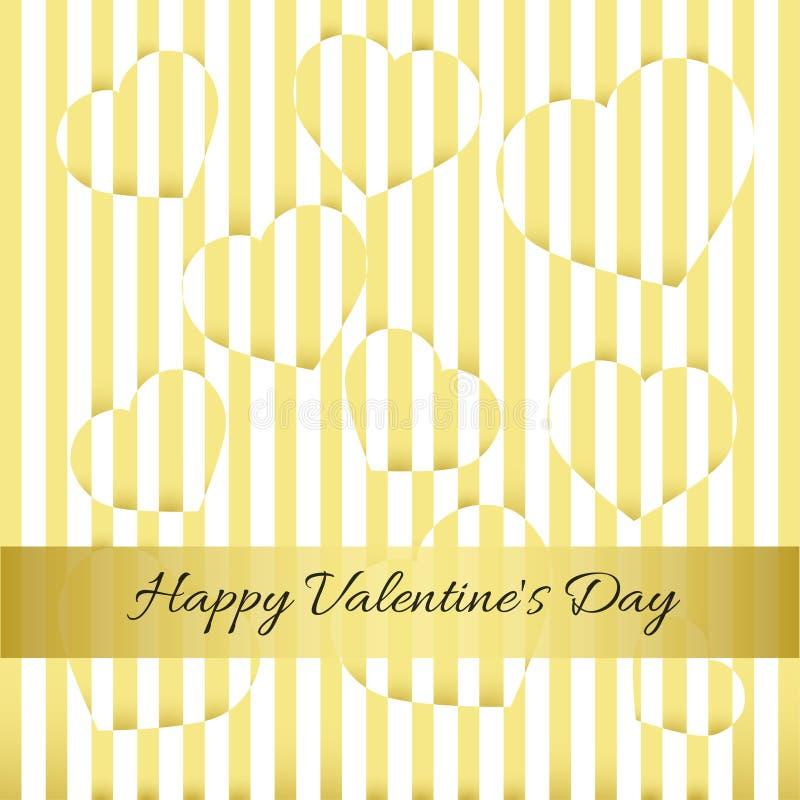 Jour heureux du `s de Valentine Carte d'or, coeurs, rayures photographie stock libre de droits